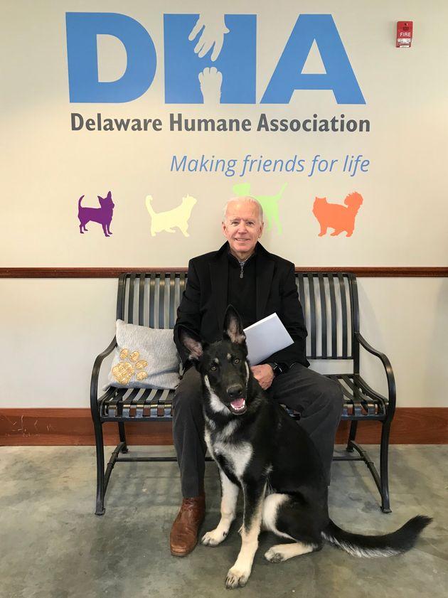 Joe Biden and Major at the Delaware Humane Assocation in