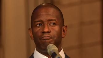 """LAUDERHILL, FL - NOVEMBER 11: Mayor Andrew Gillum speaks at New Mount Olive Baptist Church preaching """"Let My People Count Every Vote"""": Sponsored by Faith in Florida Action Fund and partners. In the front row was Deborah Wasserman Schultz on November 11, 2018 in Lauderhill, Florida. A statewide vote recount is being conducted to determine the races for governor, Senate, and agriculture commissioner. Credit Hoo-Me.com / MediaPunch /IPX"""