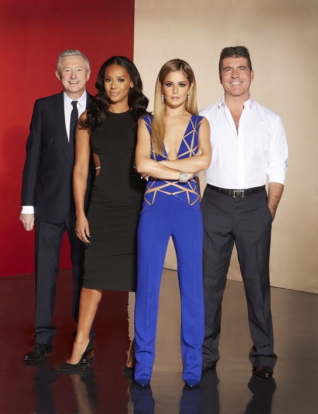 Mel with her fellow 'X Factor' judges in 2014 (l-r) Louis Walsh, Cheryl and Simon
