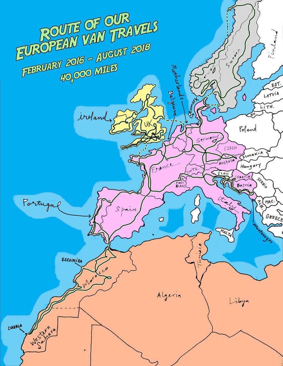 Reiseroute durch Europa und Nordafrika.