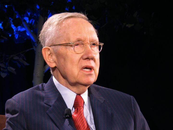 FILE - In this April 3, 2018, file photo, former Senate Majority Leader Harry Reid speaks during a joint appearance with form