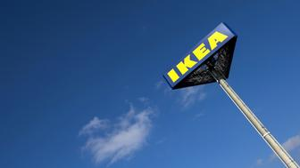 The IKEA logo is seen outside IKEA Concept Center, a furniture store and headquarters of the IKEA brand owner Inter IKEA, in Delft, the Netherlands March 16, 2016.  REUTERS/Yves Herman