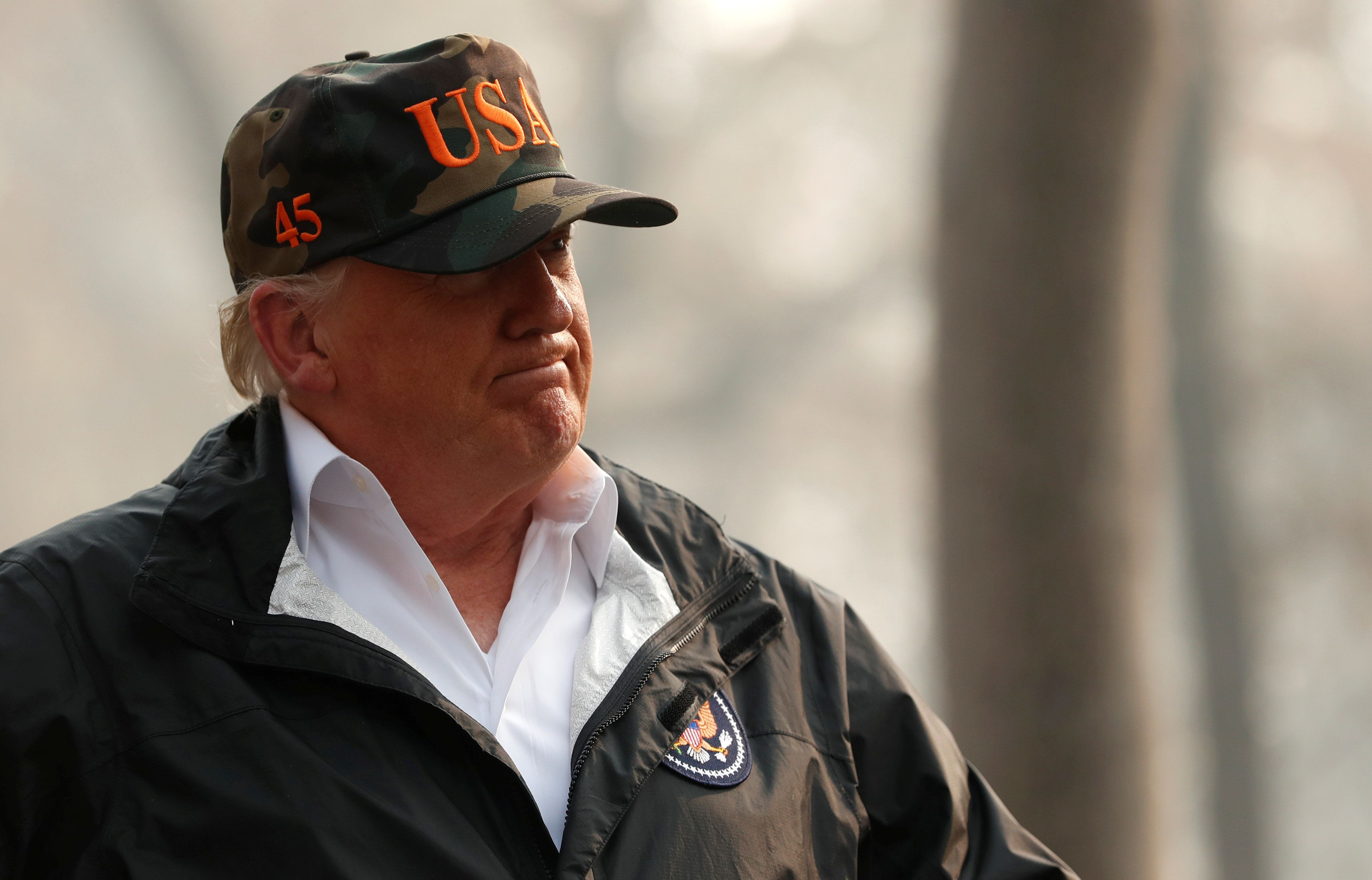 President Donald Trump visted the Skyway Villa Mobile Home and RV Park, a neighborhood recently destroyed by the Camp Fire, i