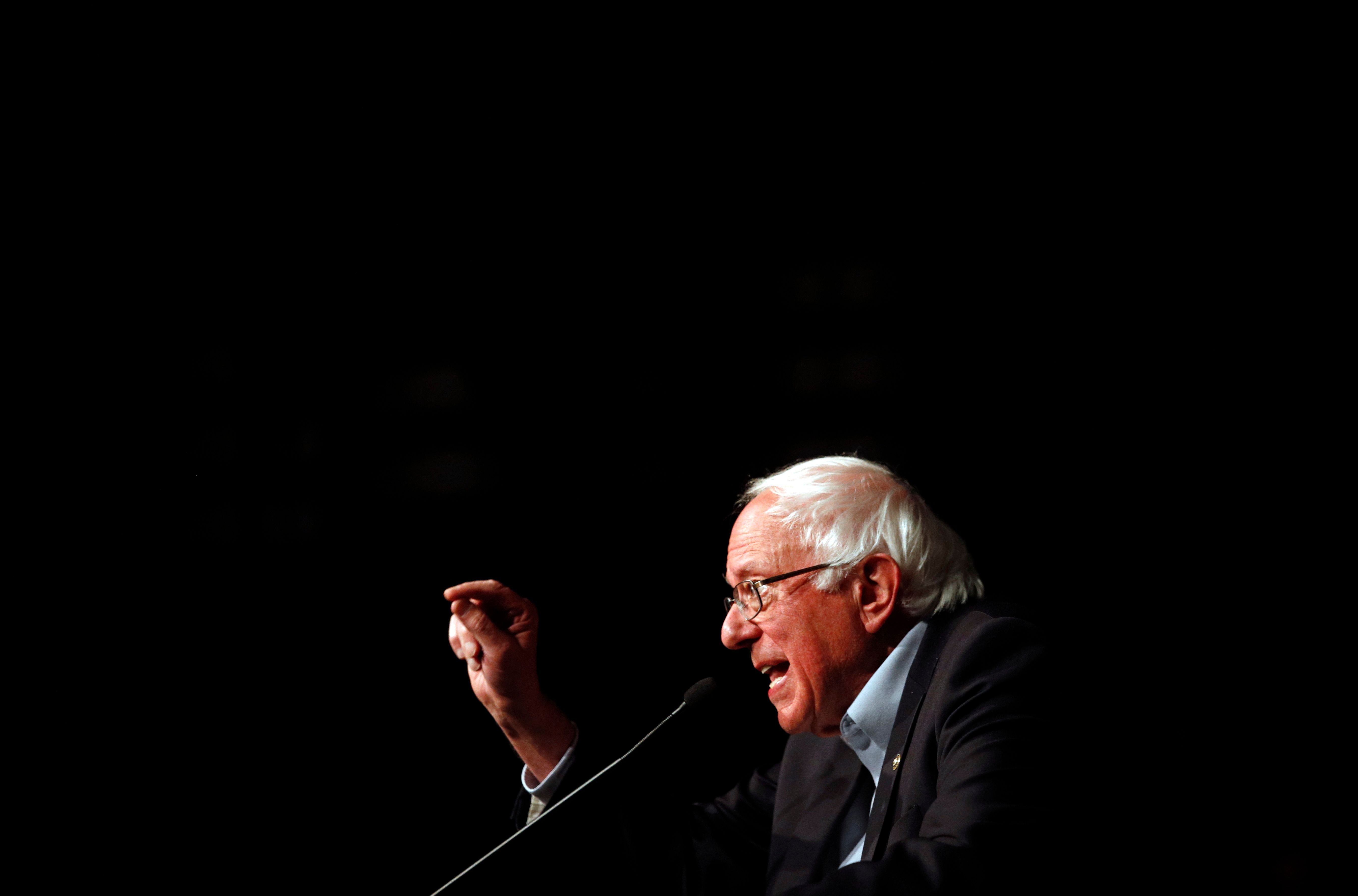 Sen. Bernie Sanders, I-Vt., speaks in support of Maryland Democratic gubernatorial candidate Ben Jealous at a campaign rally, Tuesday, Oct. 30, 2018, in Bethesda, Md. Jealous is running against incumbent Gov. Larry Hogan. (AP Photo/Patrick Semansky)