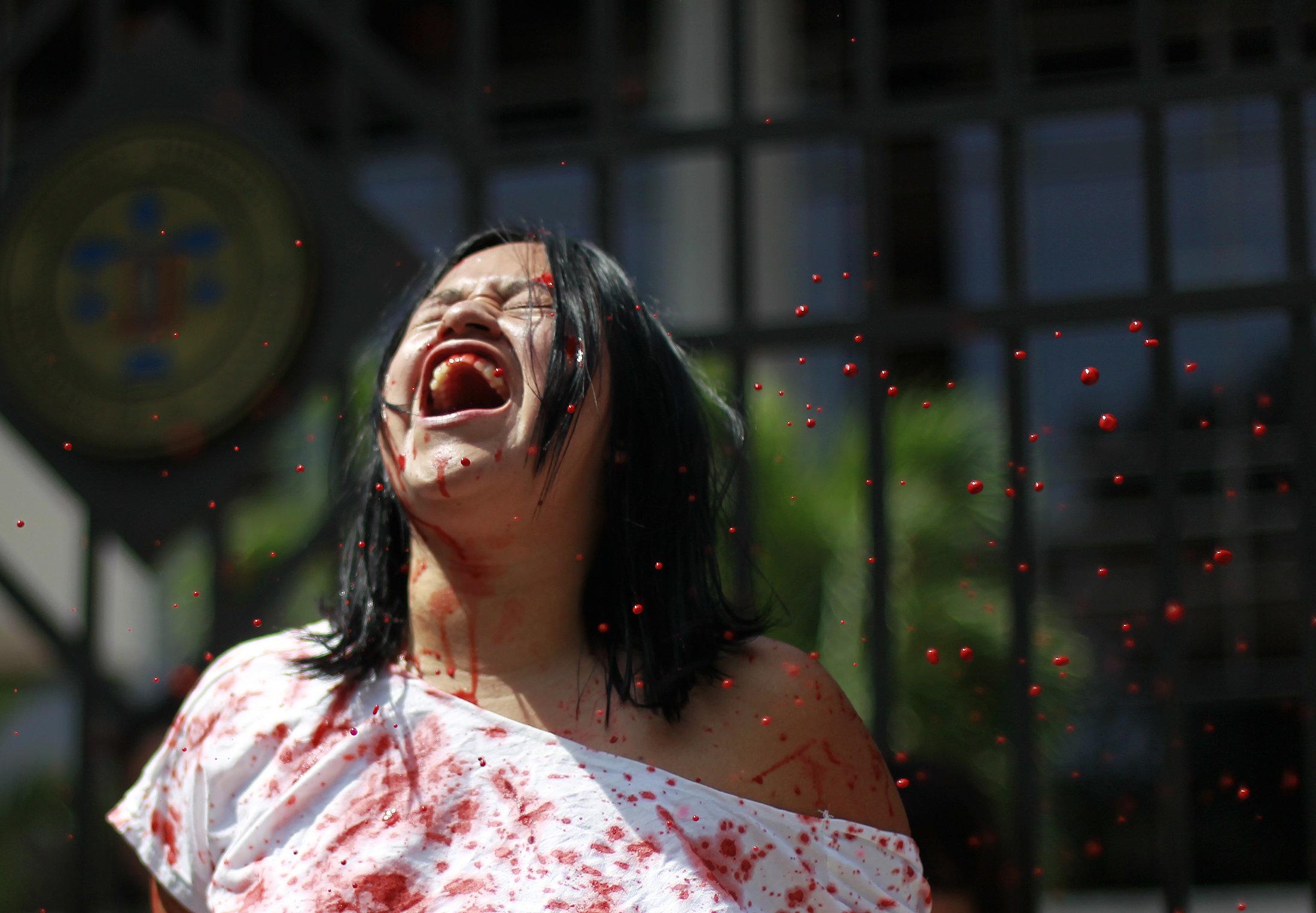 2013년 엘살바도르 대법원 외부에서 진행된 낙태법 반대