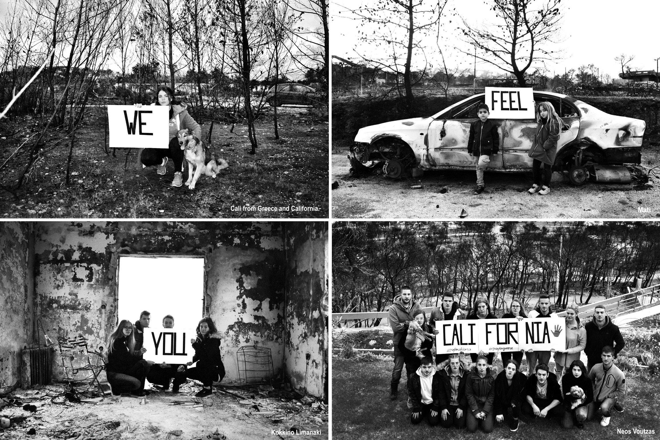 «We feel you California» - Νέοι από το Μάτι στέλνουν μήνυμα στους πυρόπληκτους στην Καλιφόρνια και συγκινούν τον αμερικανό