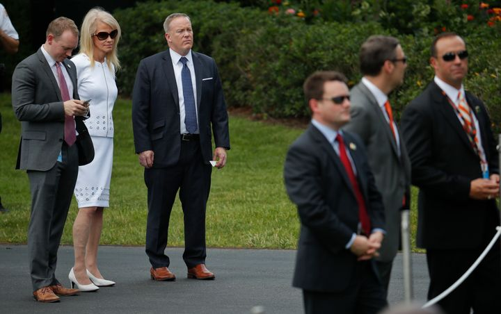 A June 2017 photo taken at the White House shows Cliff Sims, far left, then-director of White House message strategy, standin