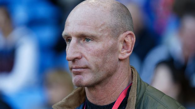 CARDIFF, WALES - OCTOBER 20: Former Wales international rugby player Gareth Thomas stands at the side of the pitch during the Premier League match between Cardiff City and Fulham FC at the Cardiff City Stadium on October 20, 2018 in Cardiff, Wales. (Photo by Athena Pictures/Getty Images)