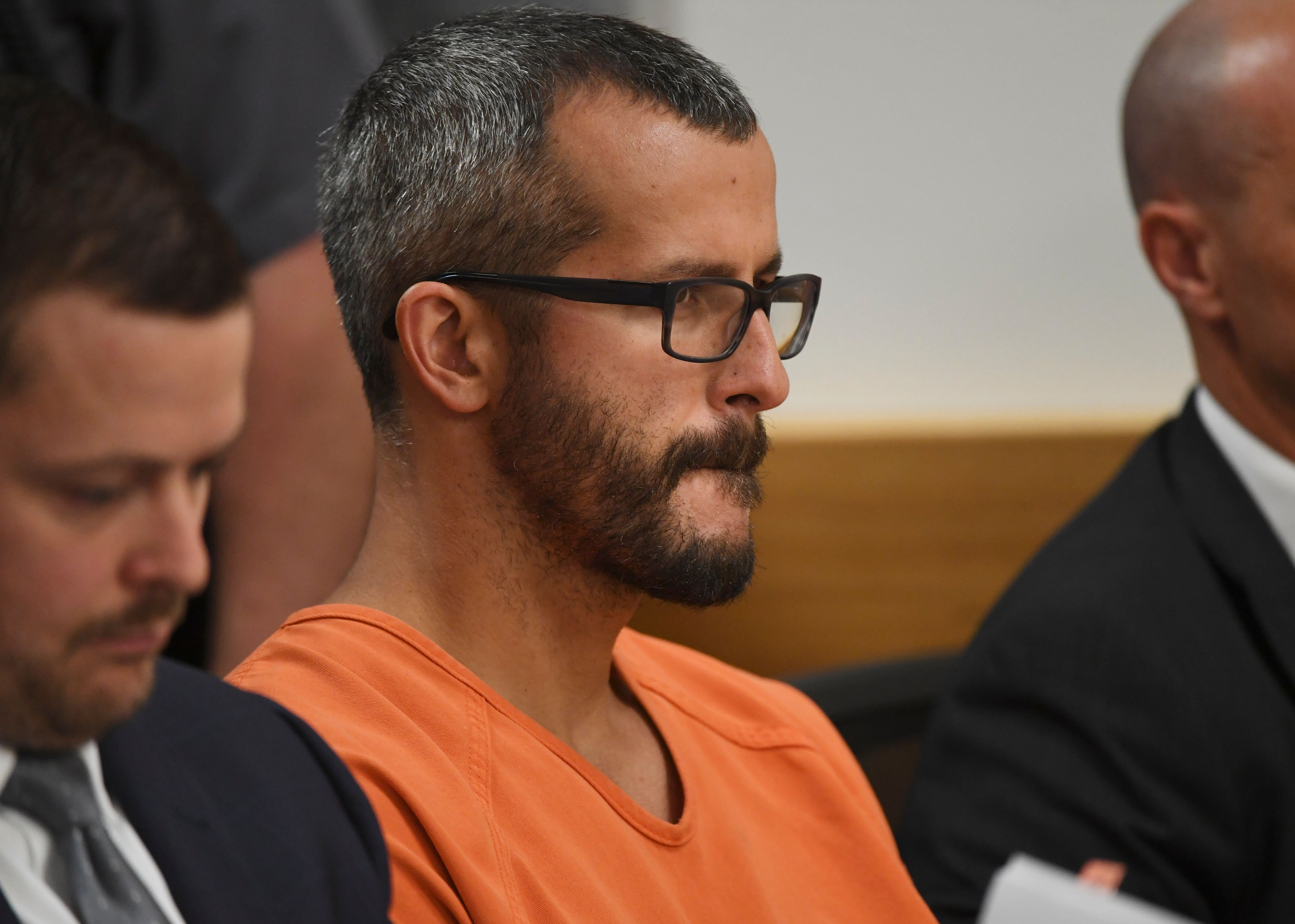 GREELEY, CO - AUGUST 21: Christopher Watts is in court for his arraignment hearing at the Weld County Courthouse on August 21, 2018 in Greeley, Colorado. Watts faces nine charges, including several counts of first-degree murder of his wife and his two young daughters.  (Photo by RJ Sangosti - Pool/Getty Images)