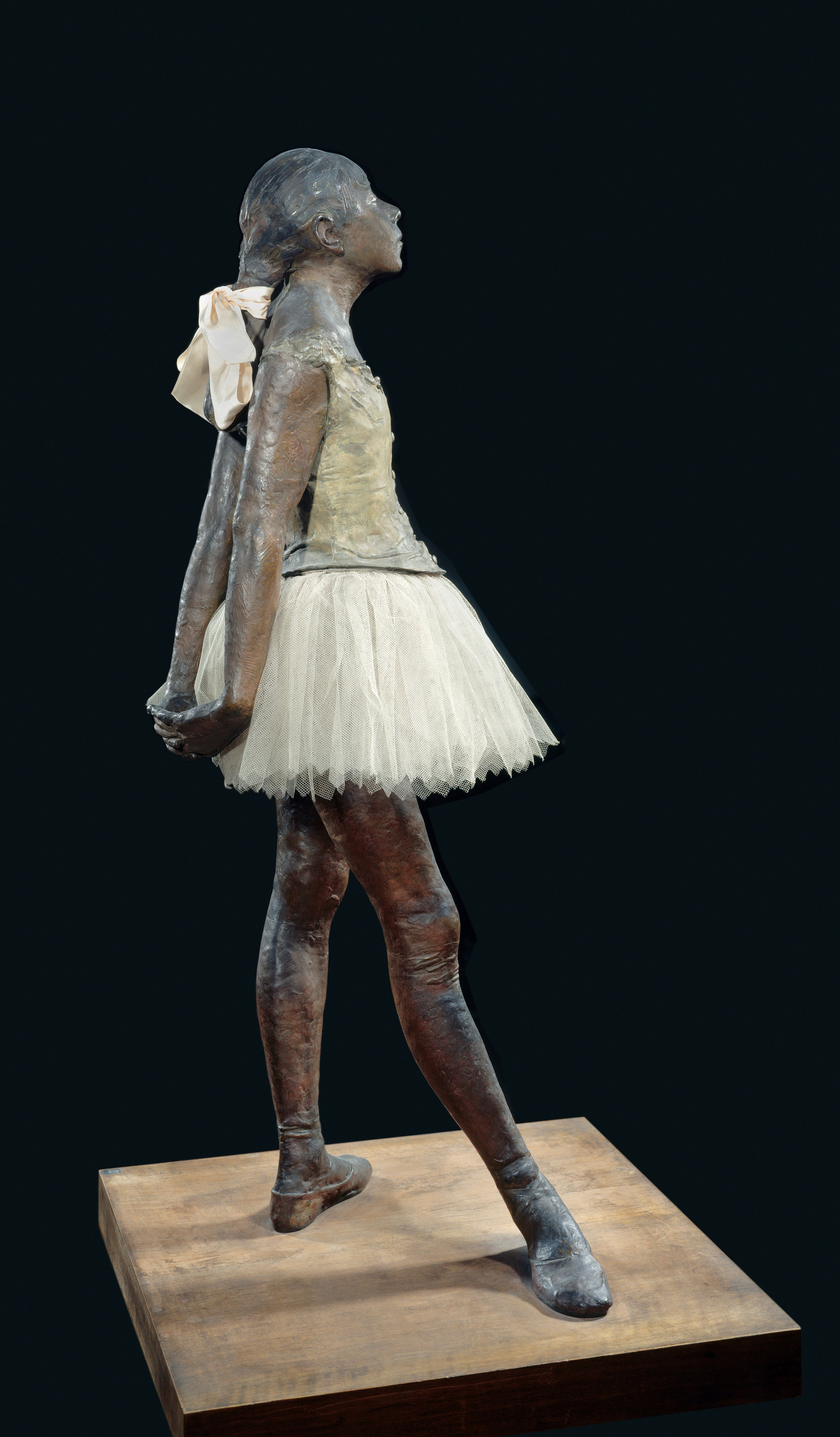 Edgar Degas (1834-1917),   Small Dancer Aged 14. 1881. Bronze, tulle, pink satin ribbon, wooden base, 0.98 x 0.35 x 0.24 m. Paris, musee d'Orsay. (Photo by: Christophel Fine Art/UIG via Getty Images)