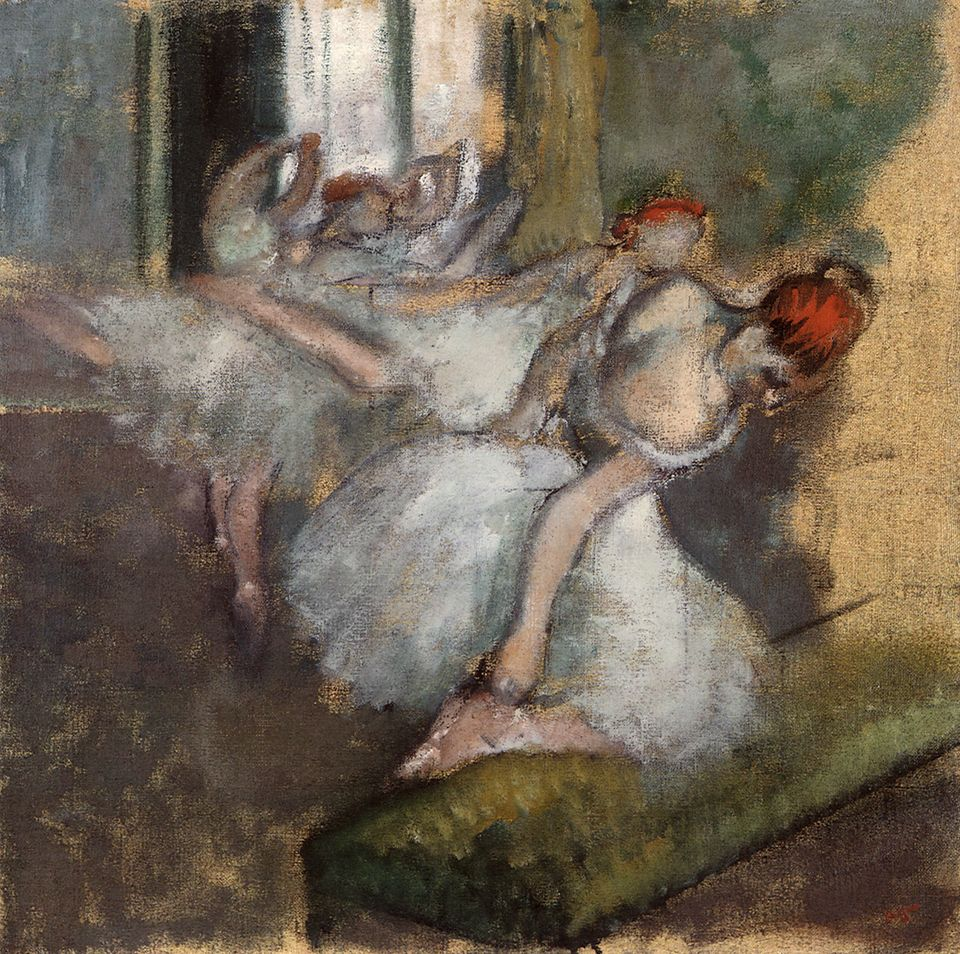 Degas' odes to the Paris Opera have taken on the rosy glow of nostalgia, but when he painted his...