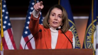 UNITED STATES - NOVEMBER 15: House Minority Leader Nancy Pelosi, D-Calif., conducts her weekly news conference in the Capitol Visitor Center on November 15, 2018. (Photo By Tom Williams/CQ Roll Call)