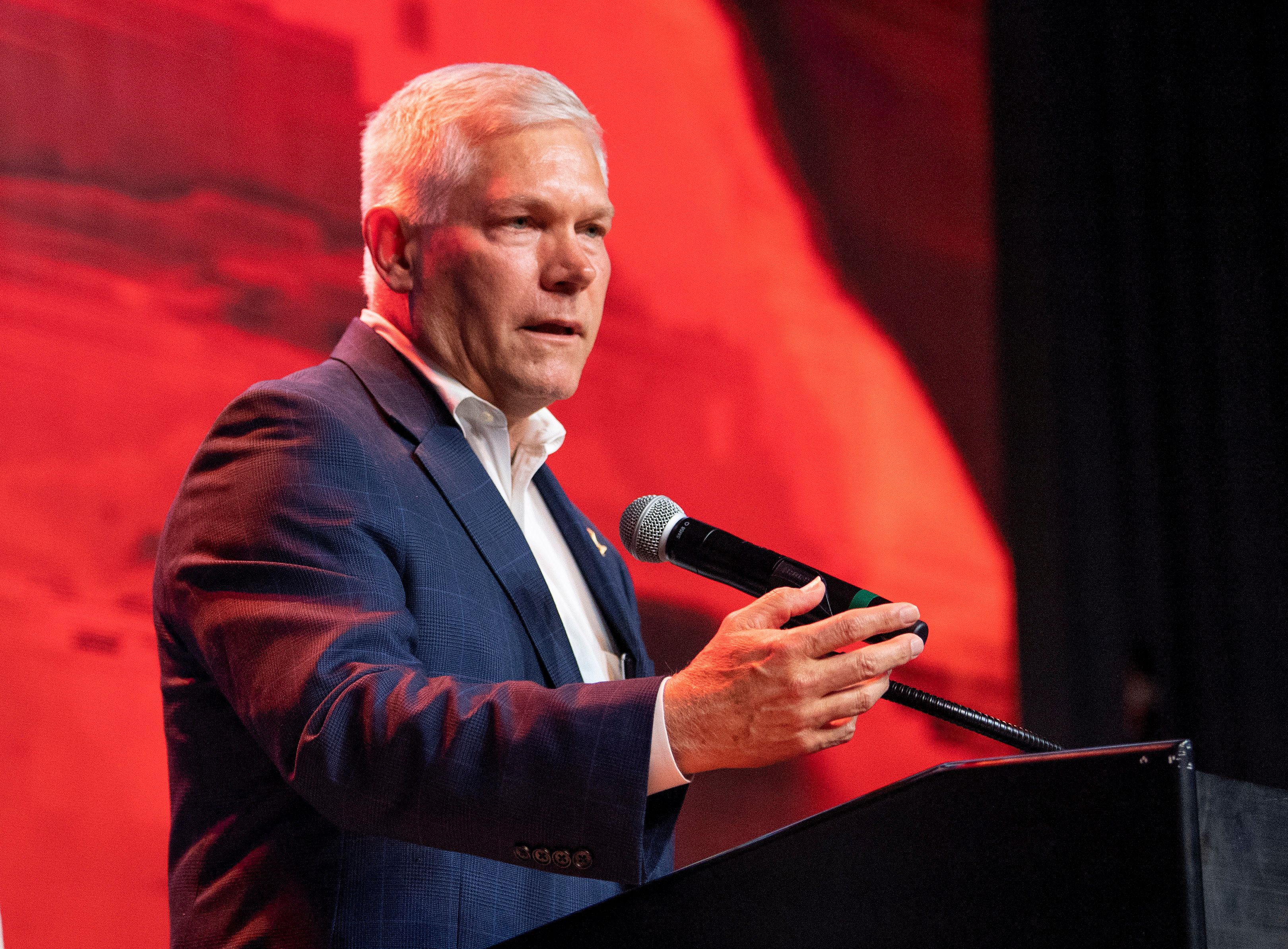 "Rep. Pete Sessions (R-Texas) gives his concession speech, Nov. 6 in Dallas. He claimed in February that drug testing ""benefits the unemployed by helping to assure future employers that unemployment claimants ... are truly able and available for work."""
