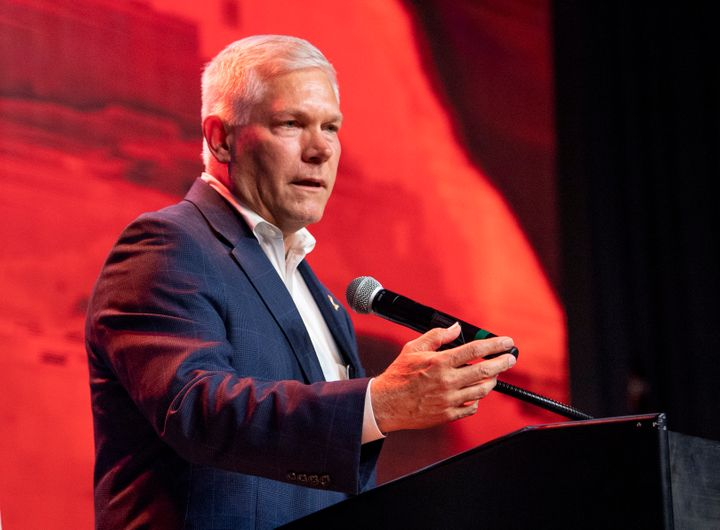 "Rep. Pete Sessions (R-Texas) gives his concession speech, Nov. 6 in Dallas. He claimed in February that drug testing ""b"