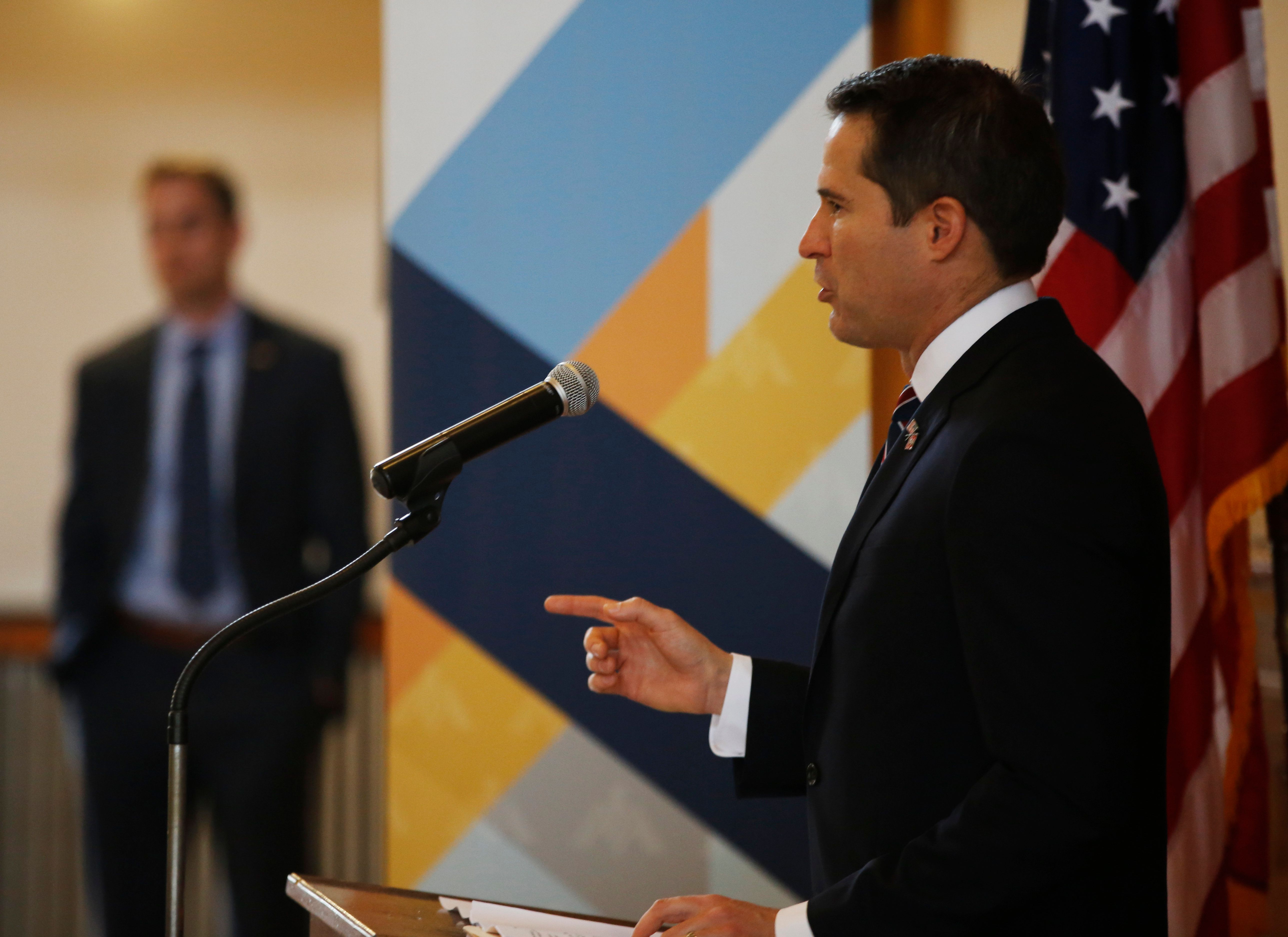 MARBLEHEAD, MA - NOVEMBER 10: U.S. Congressman Seth Moulton speaks to a crowd of veterans during the annual Veterans Town Hall in Marblehead, MA on Nov. 10, 2018. Veterans gathered at historic Abbot Hall Saturday morning to reflect on their military service, its repercussions across their lives, and the values they fought to defend - ideals that some said the nation appears to have abandoned in these fractious times. The fourth annual Veterans Town Hall hosted by US Congressman Seth Moulton, which grew out of an idea from the writer Sebastian Junger, a Belmont native, drew about 200 former service members, their families, and supporters. (Photo by Michael Swensen for The Boston Globe via Getty Images)