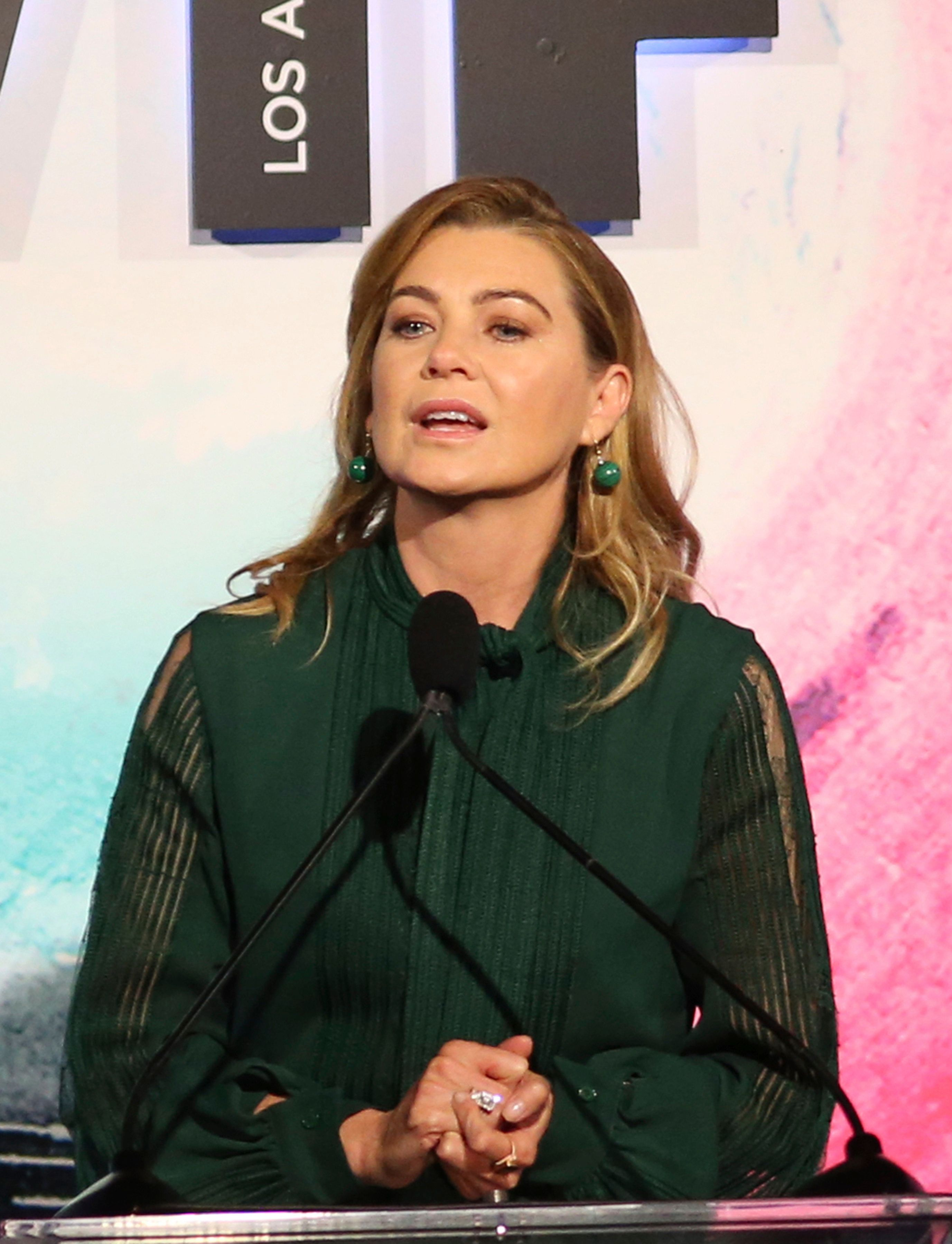 BEVERLY HILLS, CA - JUNE 13: Ellen Pompeo, at the Women In Film 2018 Crystal + Lucy Awards_Show at The Beverly Hilton Hotel in Beverly Hills, California on June 13, 2018. Credit: Faye Sadou/MediaPunch /IPX