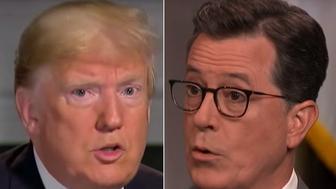 Donald Trump and Stephen Colbert
