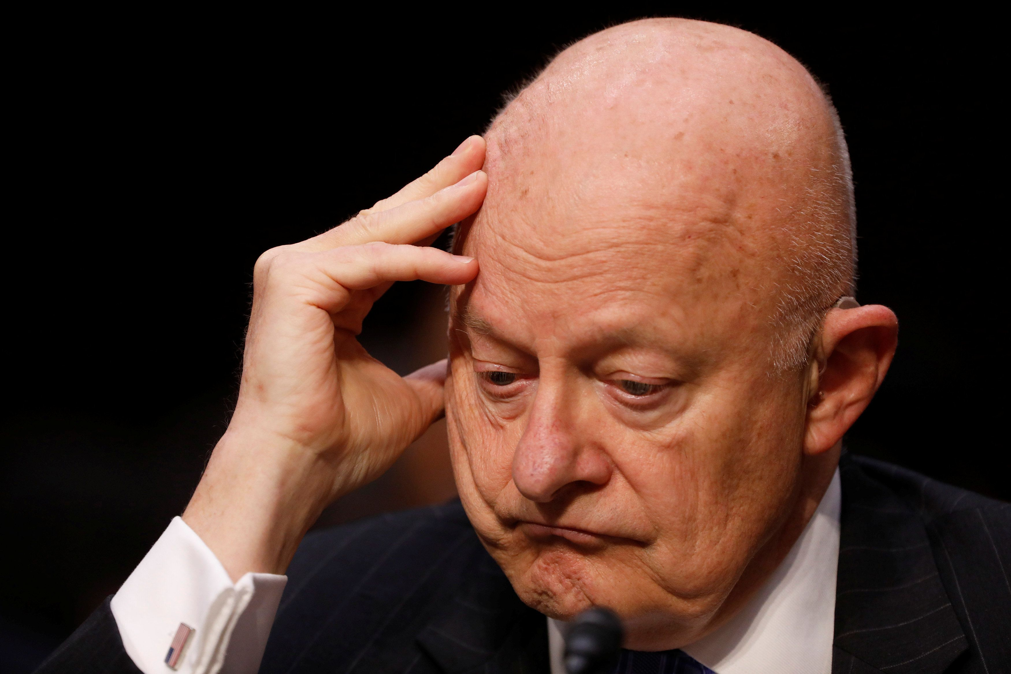 Former Director of National Intelligence James Clapper testifies about potential Russian interference in the presidential election before the Senate Judiciary Committee on Capitol Hill, Washington, D.C., U.S. May 8, 2017.  REUTERS/Aaron P. Bernstein