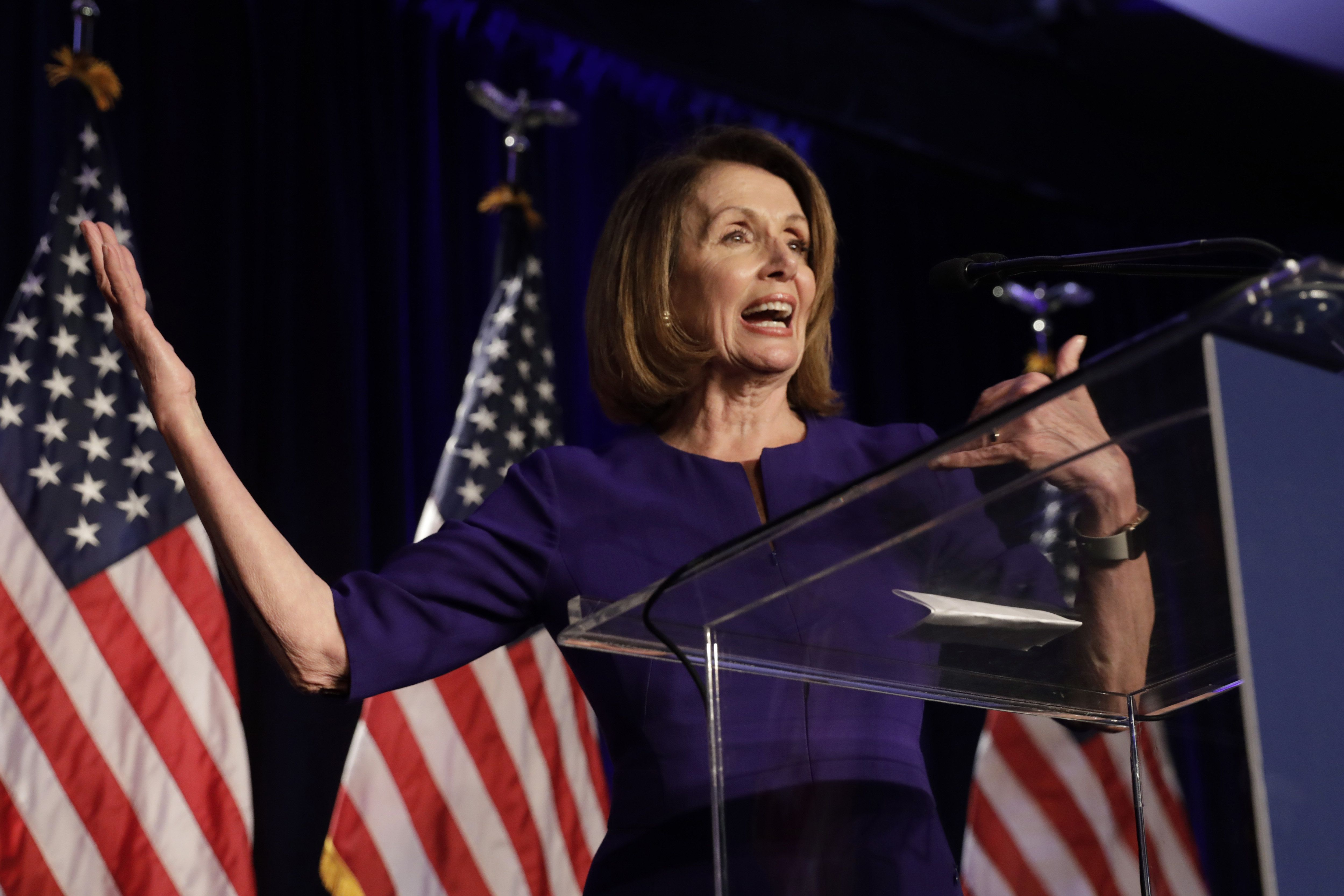 House Minority Leader Nancy Pelosi, a Democrat from California, speaks during a House Democratic election night event in Washington, D.C., U.S., on Tuesday, Nov. 6, 2018. Democrats are poised to reclaim the U.S. House, riding a wave of voter anger and discontent with President Donald Trump to a victory that would dramatically alter his next two years in office and make a deeply divided nation even more difficult to govern. Photographer: Yuri Gripas/Bloomberg via Getty Images