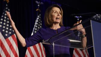 House Minority Leader Nancy Pelosi, a Democrat from California, speaks during a House Democratic election night event in Washington, D.C., U.S., on Tuesday, Nov. 6, 2018. Democrats are poised to reclaim the U.S. House, riding a wave of voter anger and discontent with PresidentDonald Trumpto a victory that would dramatically alter his next two years in office and make a deeply divided nation even more difficult to govern. Photographer: Yuri Gripas/Bloomberg via Getty Images