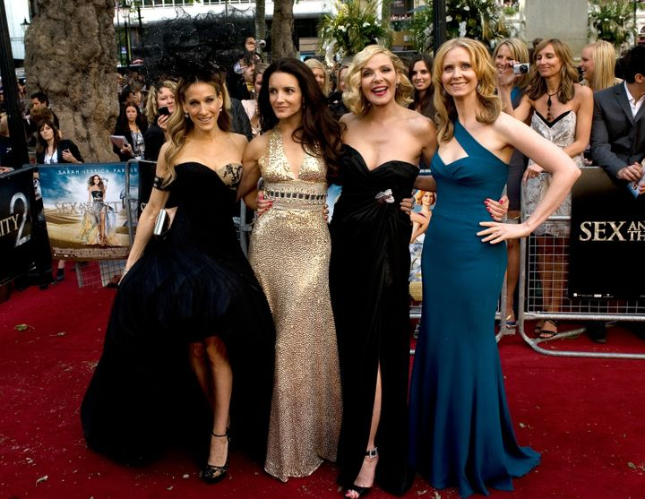 "Sarah Jessica Parker, Kristin Davis, Cynthia Nixon and Kim Cattrall at the premiere of ""Sex and the City 2."""