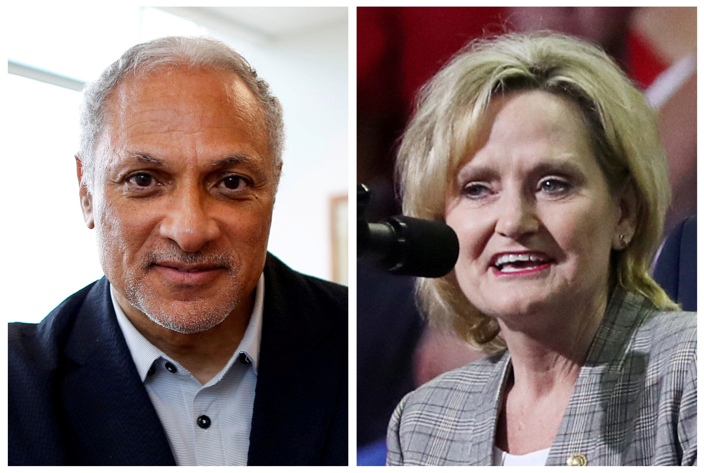 FILE PHOTOS: U.S. Senate candidate Mike Espy and U.S. Senator Cindy Hyde-Smith (R) are seen in combination file photos, in Jackson, Mississippi, U.S. on May 8, 2018 and in Southaven, Mississippi, U.S. on October 2, 2018 respectively.   REUTERS/Jonathan Bachman (L) and REUTERS/Jonathan Ernst/File Photos