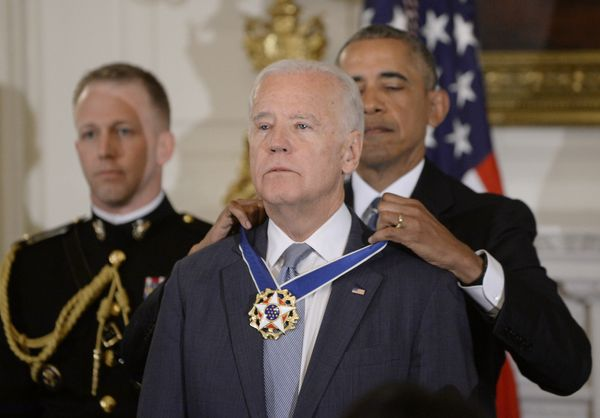 President Barack Obama presents the Medal of Freedom to Vice President Joe Biden during an event at the White House in 2017.