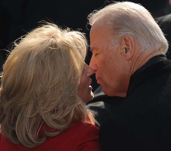 Biden kisses his wife, Jill, at the U.S. Capitol after Barack Obama was sworn in as the 44th president on Jan. 20, 2009.