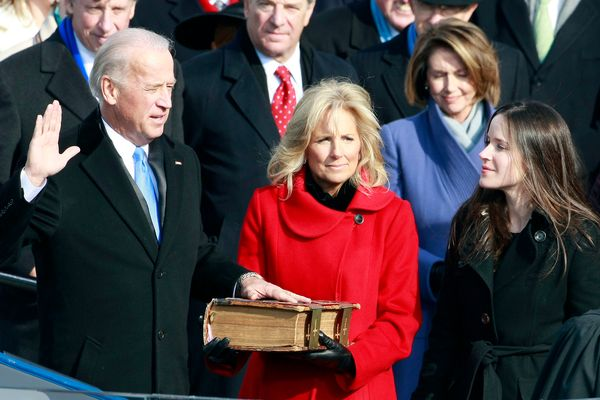 Biden is sworn in by Supreme Court Justice John Paul Stevens during the inauguration of Obama as the 44th president on Jan. 2