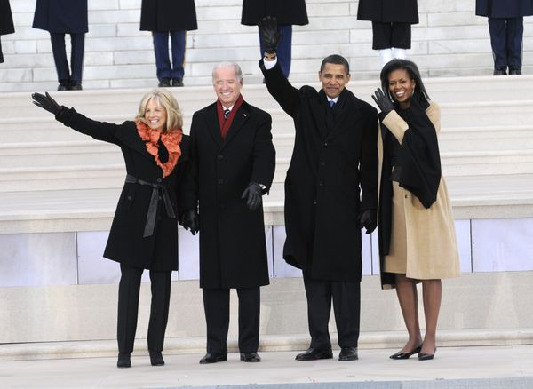 """Jill and Joe Biden and Barack and Michelle Obama wave to the crowd at """"We Are One: The Obama Inaugural Celebration At The Lin"""