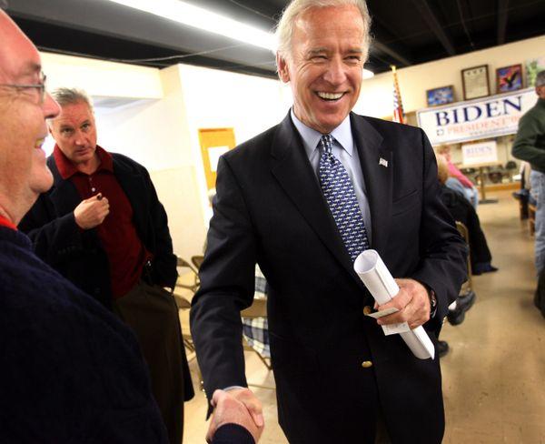 Democratic Presidential hopeful Sen. Biden (D-Del.) greets potential supporters at a VFW hall on Dec. 2, 2007, in Des Moines,