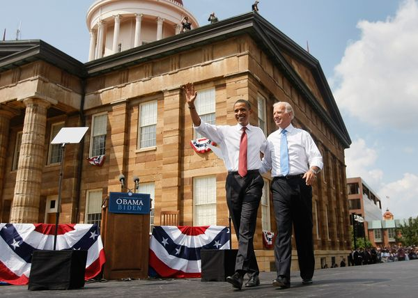 Sen. Barack Obama (D-Ill.) takes the stage with Biden, his vice-presidential pick, on Aug. 23, 2008, in Springfield, Illinois