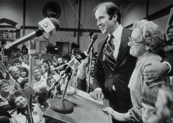 Biden with his mother, Jean, speaking on Nov. 7, 1978.