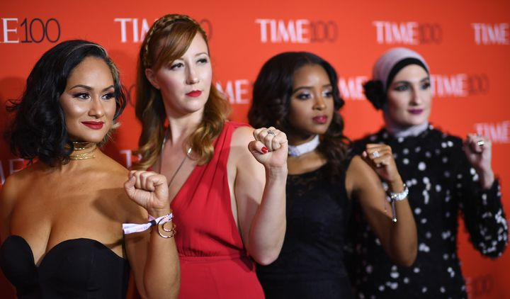 Women's March National co-chairs Carmen Perez, Bob Bland, Tamika D. Mallory, and Linda Sarsour attend the 2017 Time 100 Gala at Jazz at Lincoln Center on April 25, 2017, in New York City.