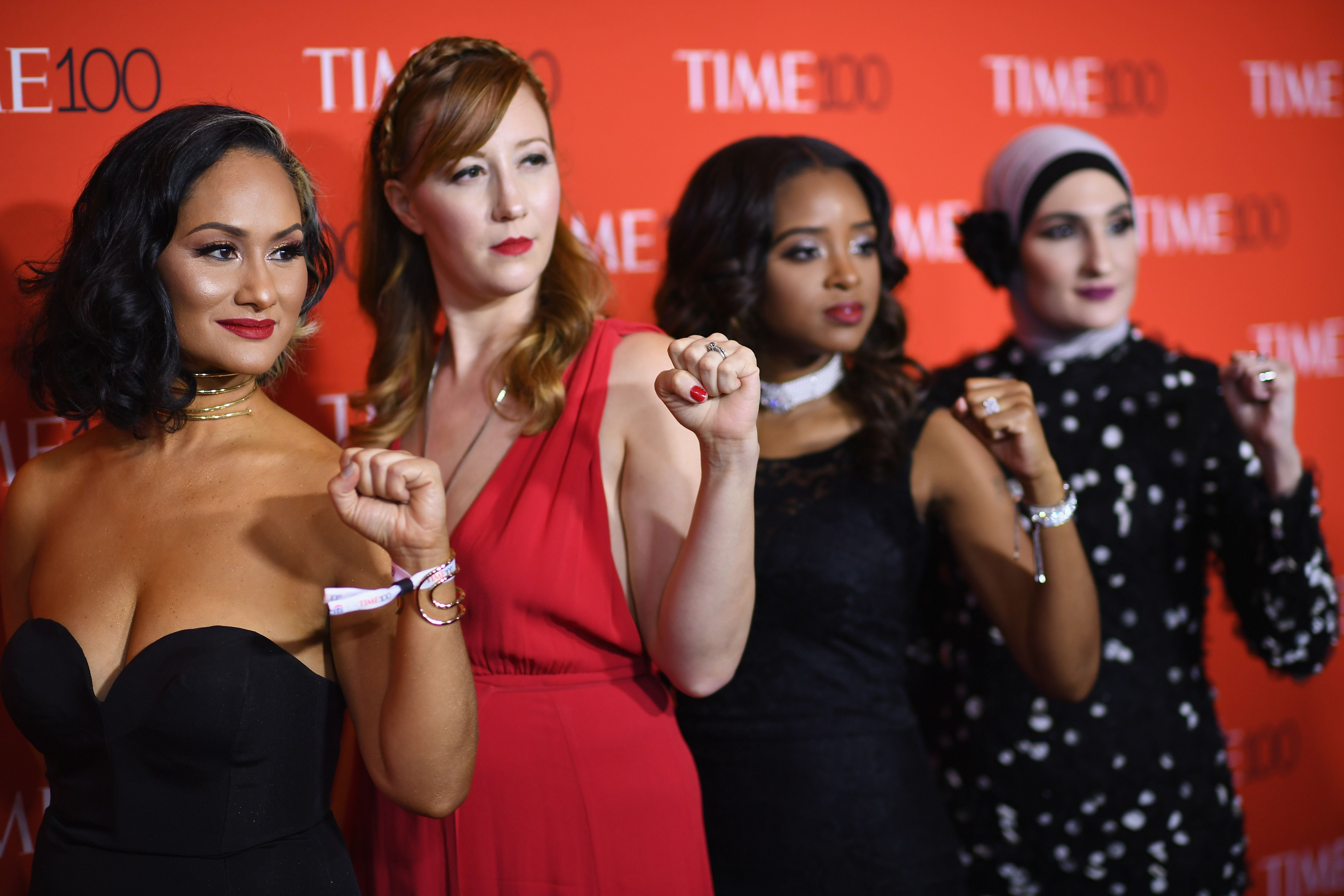 NEW YORK, NY - APRIL 25: (L-R) Women's March National Co-Chairs Carmen Perez, Bob Bland, Tamika D. Mallory, and Linda Sarsour attend the 2017 Time 100 Gala at Jazz at Lincoln Center on April 25, 2017 in New York City.  (Photo by Dimitrios Kambouris/Getty Images for TIME)
