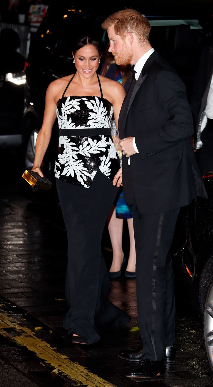 The Duke and Duchess of Sussex attend the Royal Variety Performance at the London Palladium on Monday in London.