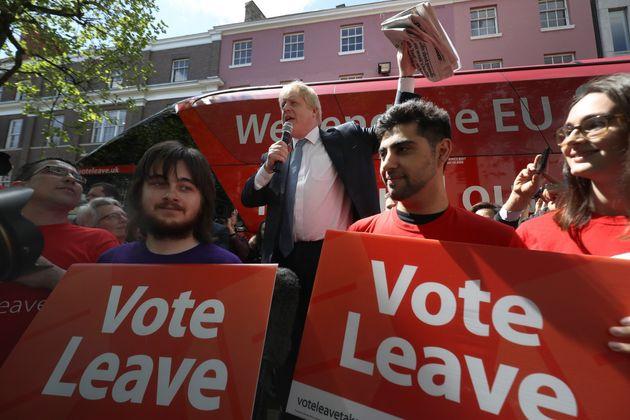 Boris Johnson delivers a speech during the referendum