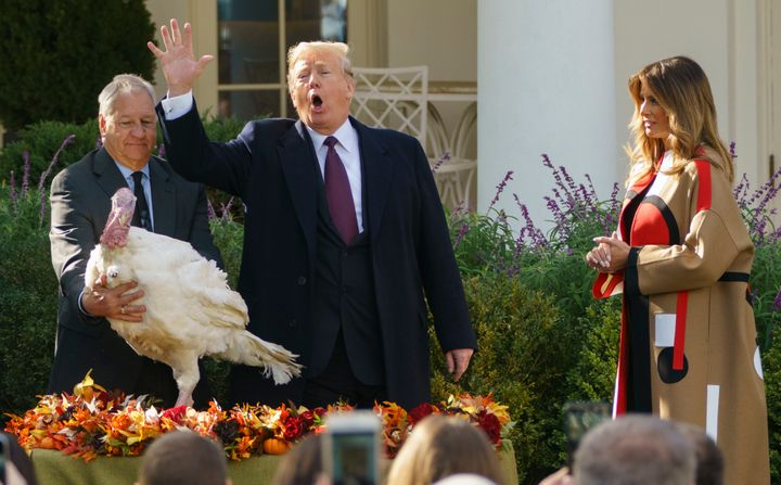 President Donald Trump pardons Peas as he and first lady Melania Trump participate in a turkey-pardoning ceremony in the Rose