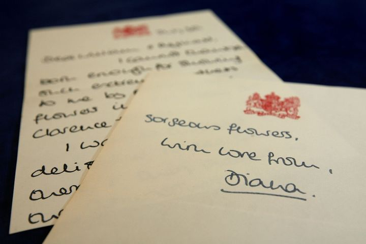 Many of Diana's letters of appreciation have been put up for auction.