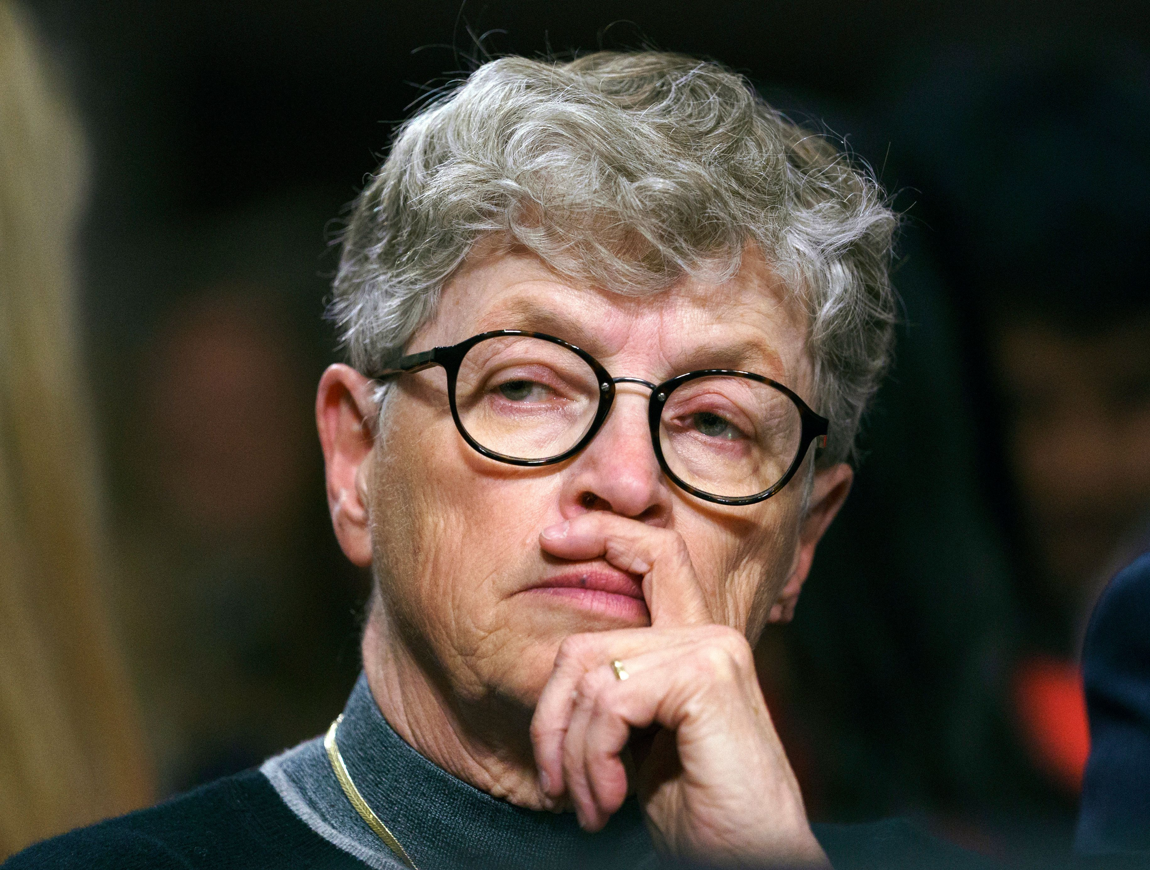 Former Michigan State president Lou Anna Simon pauses before testifying on Capitol Hill in Washington on June 5, 2018.