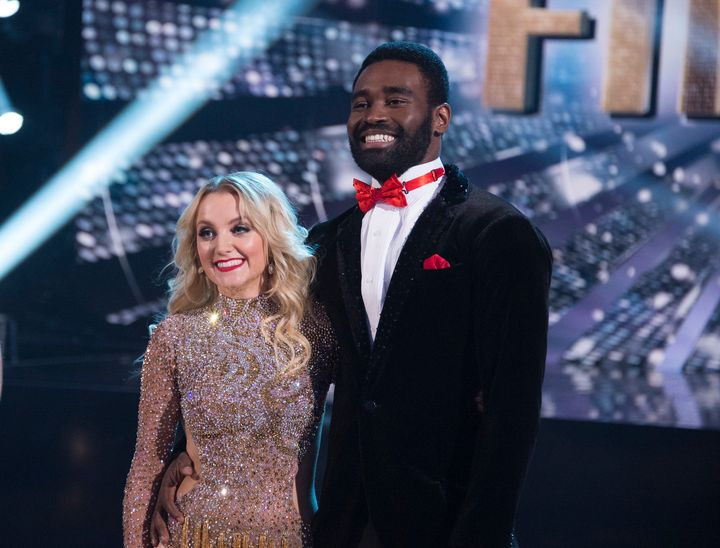 "Evanna Lynch and dance partner Keo Motsepe in the ""Dancing With the Stars"" Season 27 finale. The couple didn't win, thou"