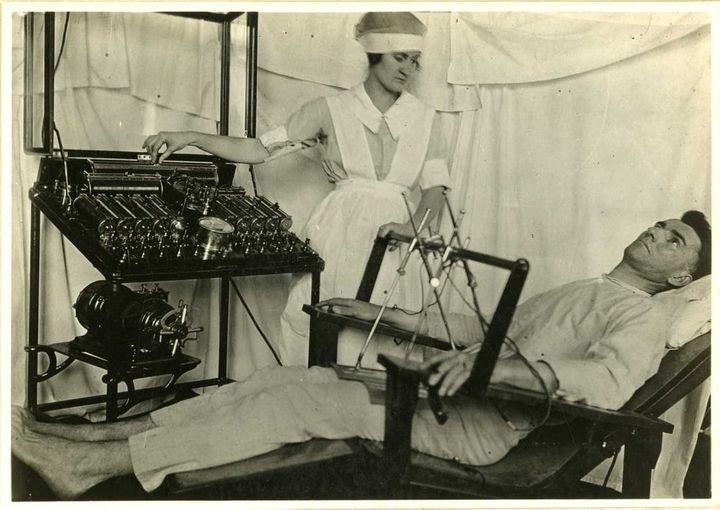 Electric treatments were prescribed in psychoneurotic cases post-WWI. <a rel=