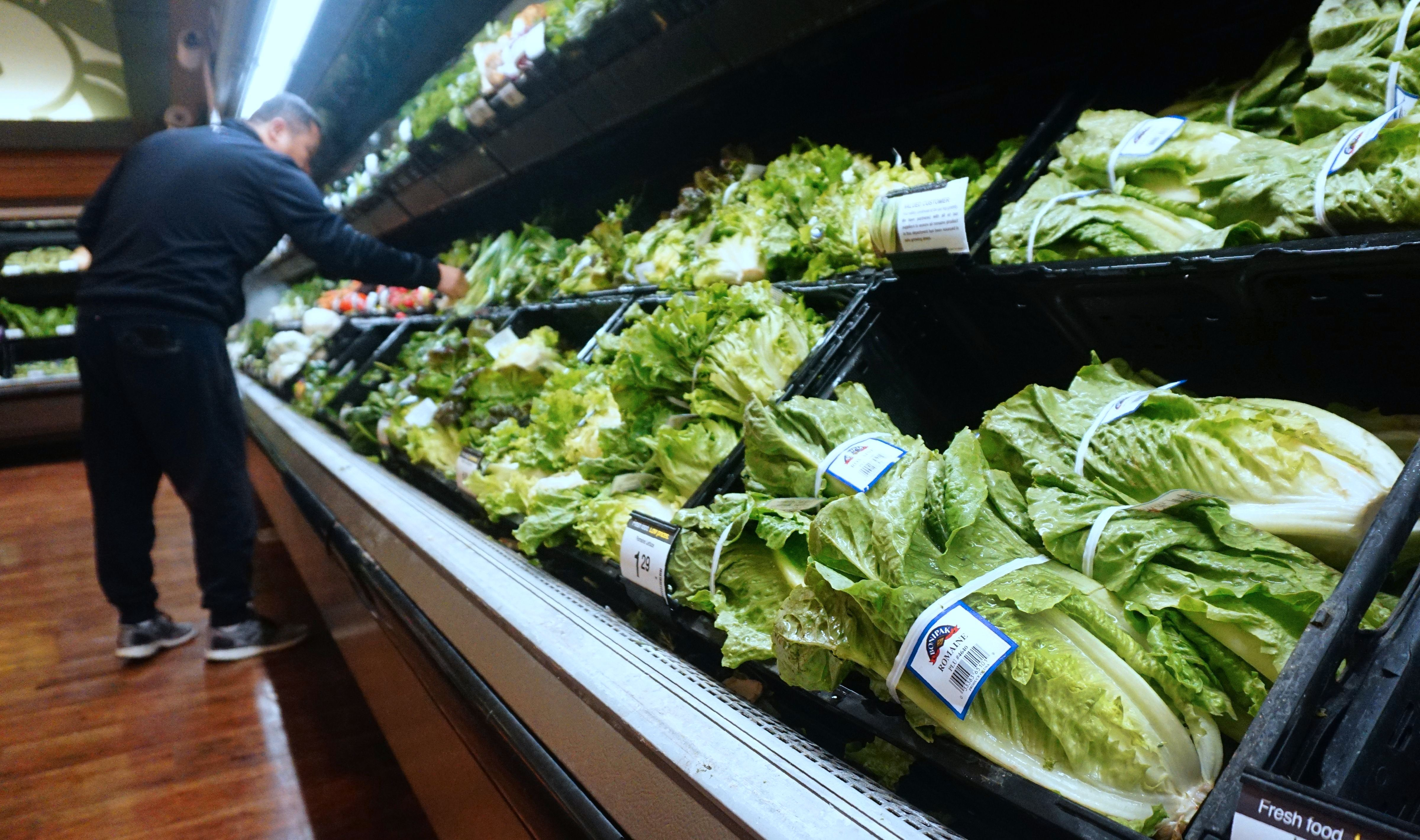 A man shops for vegetables beside Romaine lettuce stocked and for sale at a supermarket in Los Angeles, California on May 2, 2018, where the first death from an E Coli contaminated Romaine lettuce outbreak was reported. (Photo by Frederic J. BROWN / AFP)        (Photo credit should read FREDERIC J. BROWN/AFP/Getty Images)