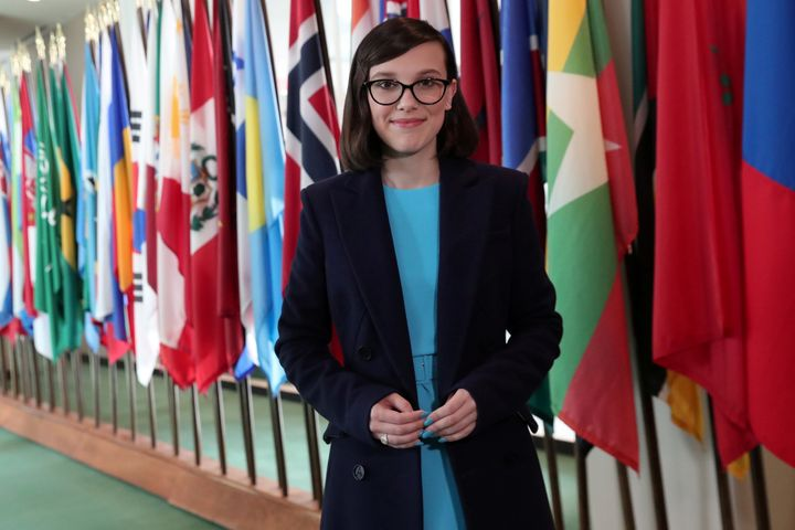 Millie Bobby Brown poses at the United Nations headquarters.