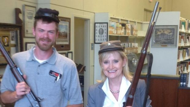 Sen. Cindy Hyde-Smith (R-Miss.) shared a photo of herself wearing a Confederate soldier's hat and holding a rifle in a 2014 Facebook post that resurfaced on Tuesday.