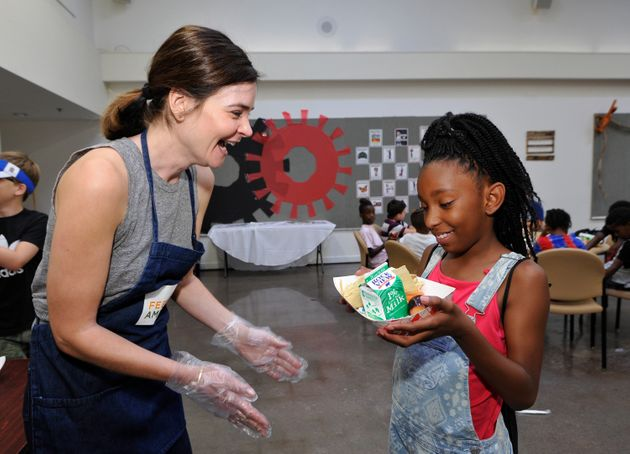 Actress Betsy Brandt volunteers with Feeding America and the Los Angeles Regional Food Bank in