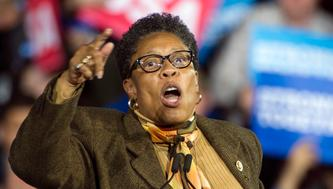 Rep. Marcia Fudge, D-Ohio, speaks at a campaign rally for Democratic presidential candidate Hillary Clinton at Cleveland Public Hall in Cleveland, Sunday, Nov. 6, 2016. (AP Photo/Phil Long)
