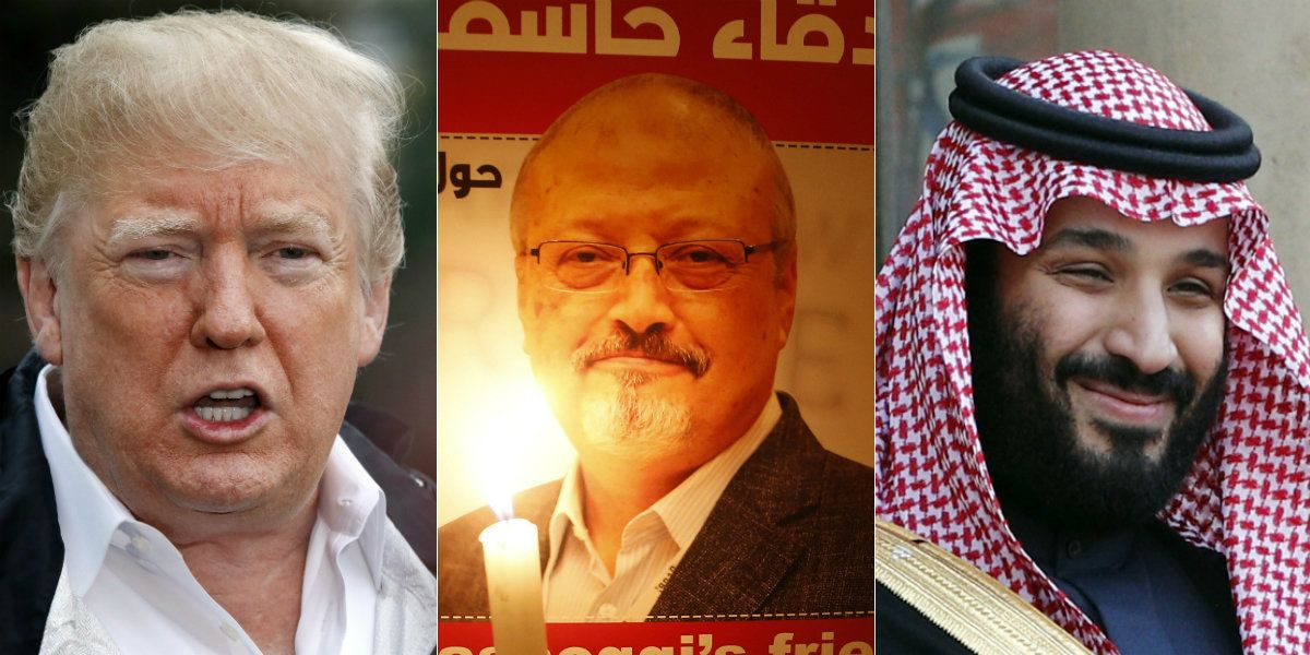 President Donald Trump, murdered Washington Post journalist Jamal Khashoggi, and Saudi crown prince Mohammed bin Salman.