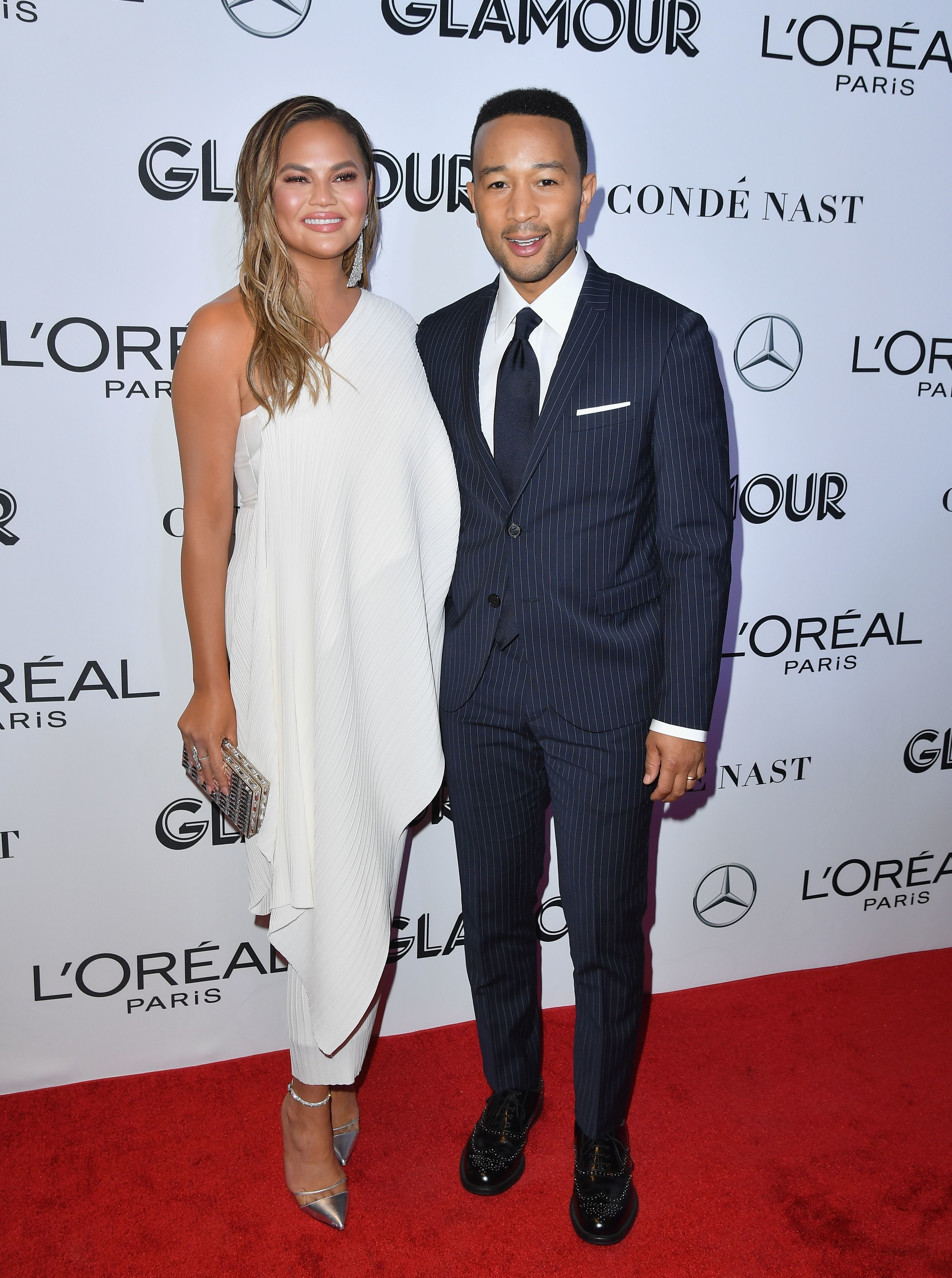 Model Chrissy Teigen and her husband singer-songwriter John Legend attend the 2018 Glamour Women Of The Year Awards: Women Rise on November 12, 2018 in New York City. (Photo by Angela Weiss / AFP)        (Photo credit should read ANGELA WEISS/AFP/Getty Images)