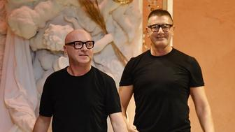 MILAN, ITALY - FEBRUARY 25:  Fashion designers Domenico Dolce and Stefano Gabbana walk the runway after the Dolce & Gabbana show during Milan Fashion Week Fall/Winter 2018/19 on February 25, 2018 in Milan, Italy.  (Photo by Jacopo Raule/Getty Images)